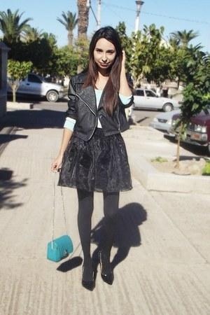turquoise blue Zara bag - black Chicwish skirt