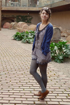 brown Steve Madden shoes - gray tights - blue Zara romper - blue cardigan