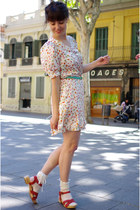 white See by Chloe via ebay dress - red Urban Outfitters sandals - aquamarine se