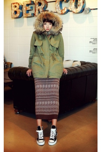chartreuse cotton military coat