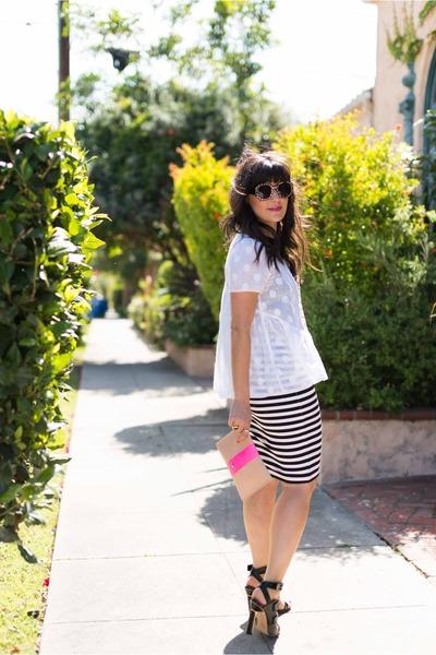 Clare Vivier bag - BB Dakota skirt - Derek Lam heels - Anthropologie top