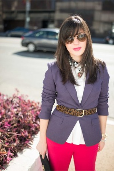 ted baker blazer - Alice & Olivia pants - H&M top - J Crew belt