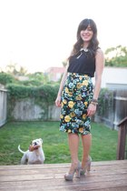asos skirt - Anthropologie top - Jean Michel Cazabat heels