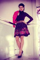 floral Coco Millen skirt - turtleneck Zara top - Diesel belt - Diesel heels