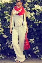 statement red Zara bag - Zara pants