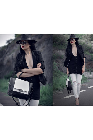black Fedora hat hat - black and white Tote Handbag bag