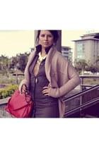 BCBG cardigan - shirtdress calvin klein dress - tote Zara bag