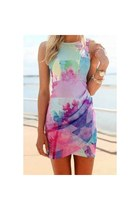 Floral Sleeveless Printed Asymmetrical Bodycon Dress For Women