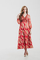 Vintage 60s Metallic Red Gold Maxi Dress/ Gypsy Goddess
