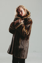 Vintage Terry Lewis Dark Brown Faux Fur Coat / Huge Swing Collar Faux fur Jacket