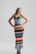 Vintage 70s Crochet Halter Dress/ Long Boho Maxi Dress/ Festival