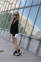 black Bass shoes - black Club Monaco blazer - white Nasty Gal shirt - white vint