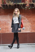 black SWORD jacket - heather gray thrifted vintage shirt - black HUE tights - re