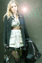black Dr Martens boots - black vintage dress - black YSL bag - army green banana