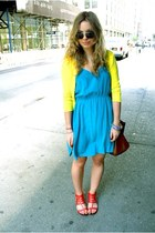 turquoise blue Forever21 dress - yellow Malika sweater - brown Mulberry bag - fo