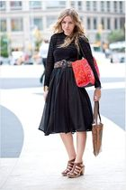 black Zara skirt - black vintage top - brown vintage belt - brown madewell shoes