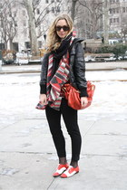 red Repetto shoes - black Mango jacket - ruby red LF sweater - ruby red Chloe ba