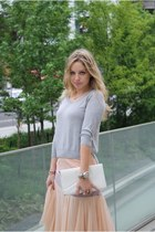 heather gray H&M sweater - off white vintage bag - puce Marni heels - peach Deve