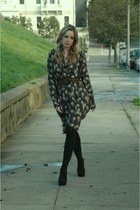 HUE tights - mary janes Forever21 heels - silk Winter Kate cardigan - leopard pr