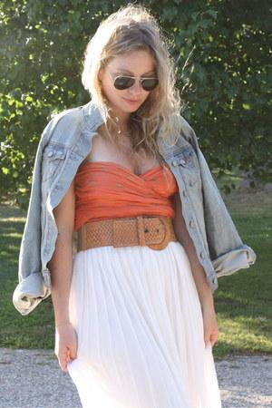 white SuperTrash skirt - sky blue Old Navy jacket