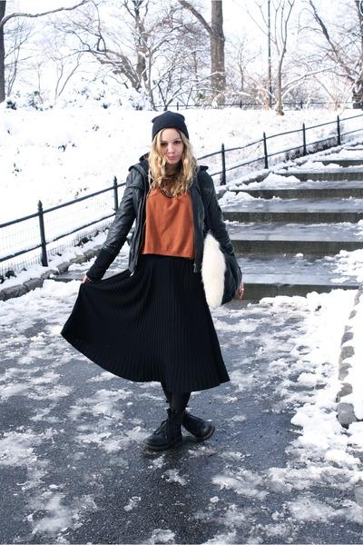 black Dr Martens boots - black Mango jacket - burnt orange H&M sweater - black O