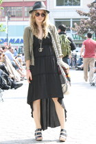 black banana republic dress - black vintage hat - olive green Dixie blazer - bla