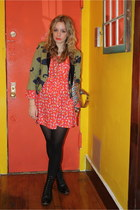black vintage from Ebay boots - red modcloth dress - olive green SUNO blazer - m