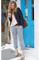 navy Jcrew blazer - olive green longchamp bag - light pink Forever21 top - peach