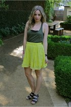 black Dolce Vita shoes - army green Forever21 shirt - chartreuse Zara skirt