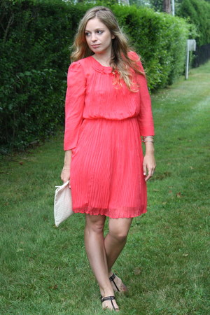 hot pink French Connection dress - ivory Marc by Marc Jacobs bag