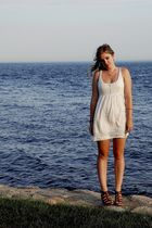 white Forever21 dress - brown madewell shoes