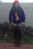 purple african woman QuellyrueDesign sweatshirt - brown combat Frye boots