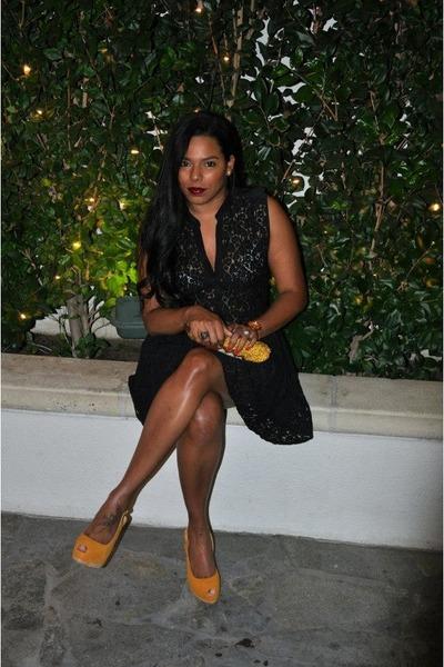black lace Joie dress - gold suede Giuseppe Zanotti heels