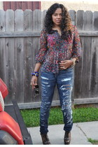 denim jeans Current Elliot jeans - ostrich thrifted vintage purse - aviator Kare