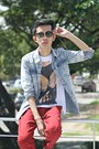 Blue-topman-shirt-brick-red-markus-pants-ivory-tee-culture-t-shirt