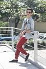 Blue-topman-shirt-brick-red-markus-pants-ivory-tee-culture-t-shirt