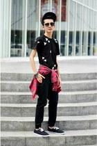 red plaid shirt - black Bossini pants - black Sprints sneakers