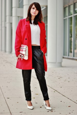 red OASAP coat - red Frontrowshop bag - white PERSUNMALL wedges