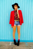 red blazer - black shoes - black hat - sky blue shorts - yellow top