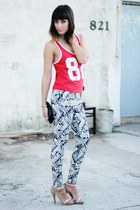 dark gray aztec pants - ruby red muscle top