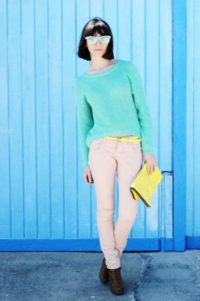 aquamarine sweater - aquamarine sunglasses - light pink pants