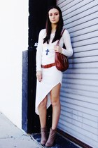 burnt orange bag - tan boots - off white dress - burnt orange belt