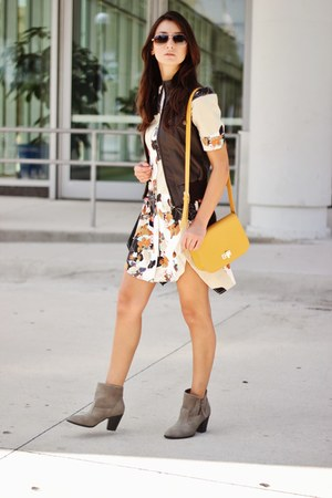 heather gray boots - eggshell 31 Phillip Lim dress - mustard bag