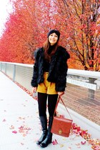 black faux fur coat - black boots - brick red target bag - tawny diy shorts