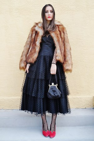 bronze H&M coat - black vintage dress - black asos tights