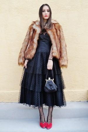 bronze H&M coat - black vintage dress - black asos tights