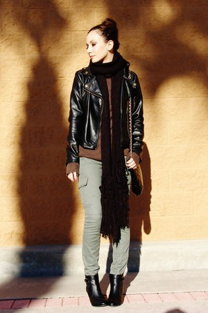 black jacket - black Forever 21 boots - brown Target sweater