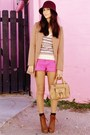Burnt-orange-boots-maroon-hat-neutral-sweater-tan-bag-bubble-gum-shorts
