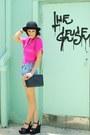 Black-bag-light-blue-shorts-black-wedges-hot-pink-top-gold-accessories