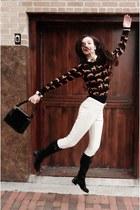 black H&M sweater - black boots - cream H&M pants